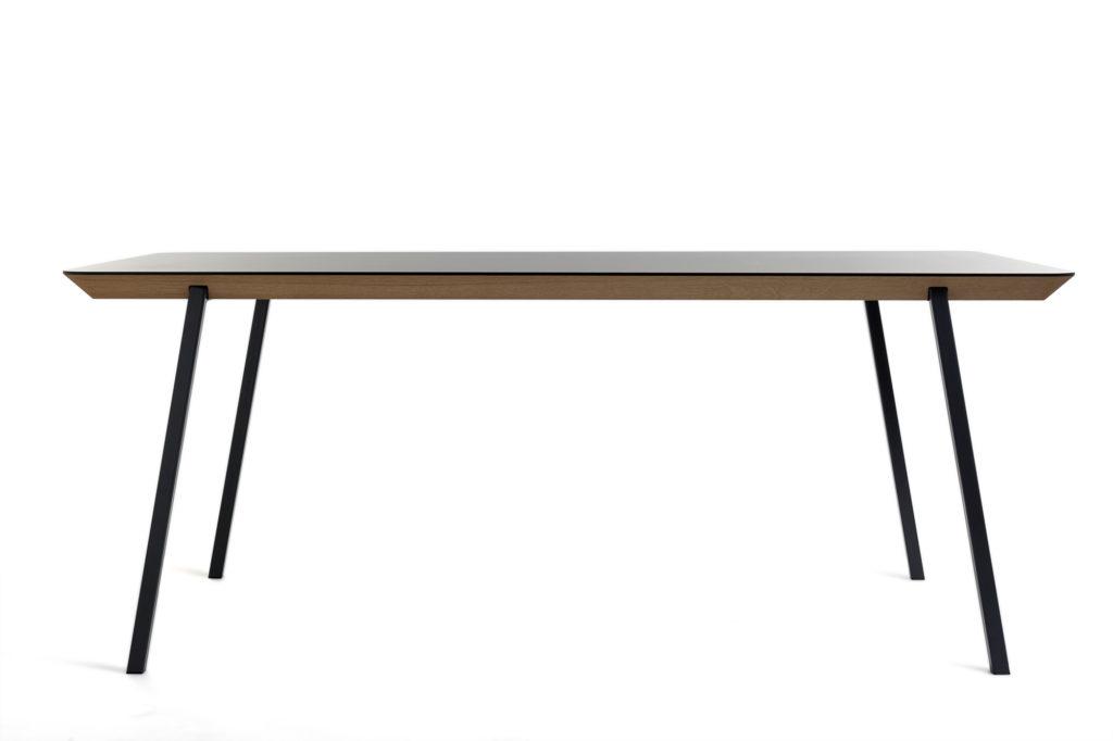 Tisch: Eiche, HPL, Stahl